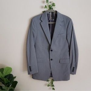 Theory Sharp Slate Stripe Grey Blazer 38R